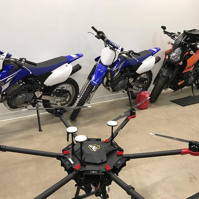 All things awesome in this photo! Things to fly, things to carve, things to wheelie ;) #studio #workandplay #dji #matrice600 #ttr125 #ktm #superduke990 #aerialproduction