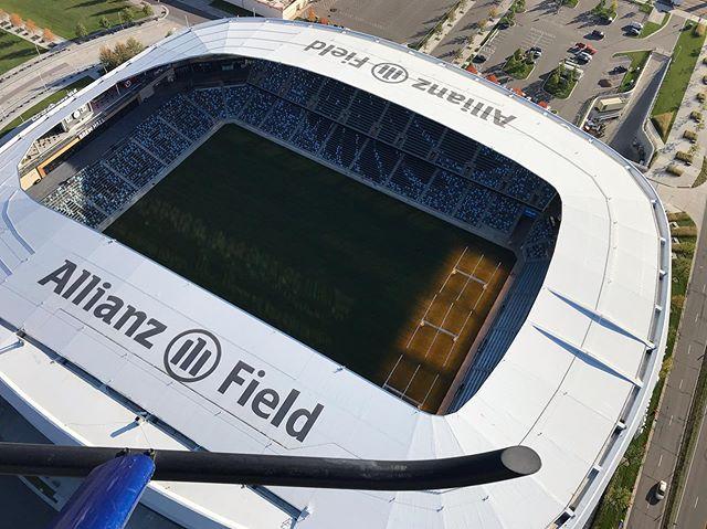 Wheels Up, Tuesday 🚁🚁🚁#aerialcinematography #aerialphotography #R44 #allianzfield @hummingbird.aviation