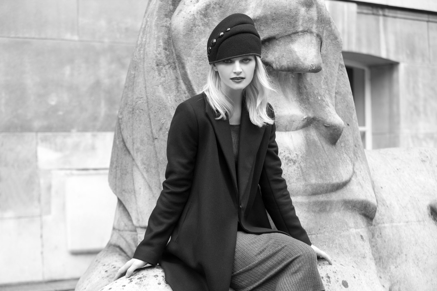 'Lavalle' cloche hat in duffle wool