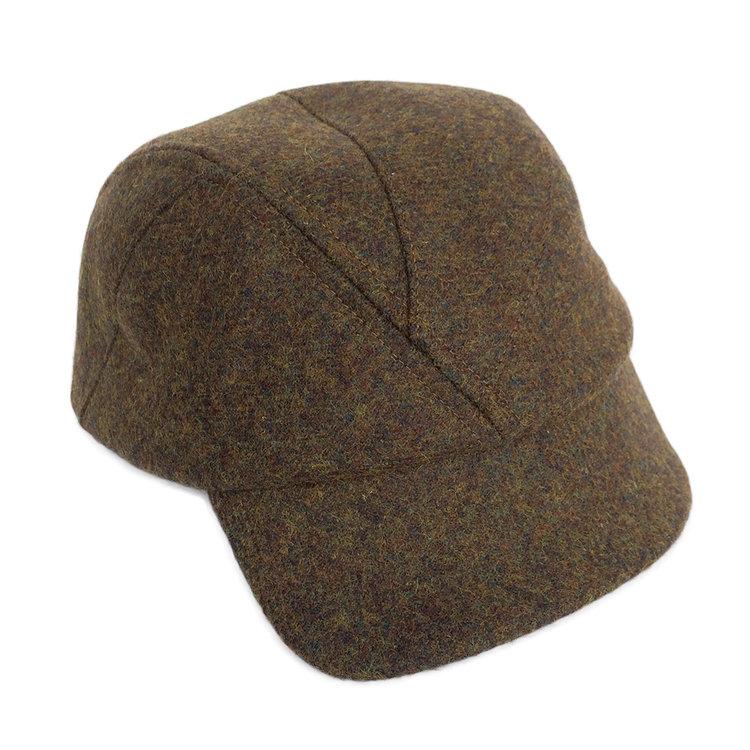 1b41a07e Shetland Wool Military Cap for Men - 'Alonso' in Khaki - by Karen Henriksen