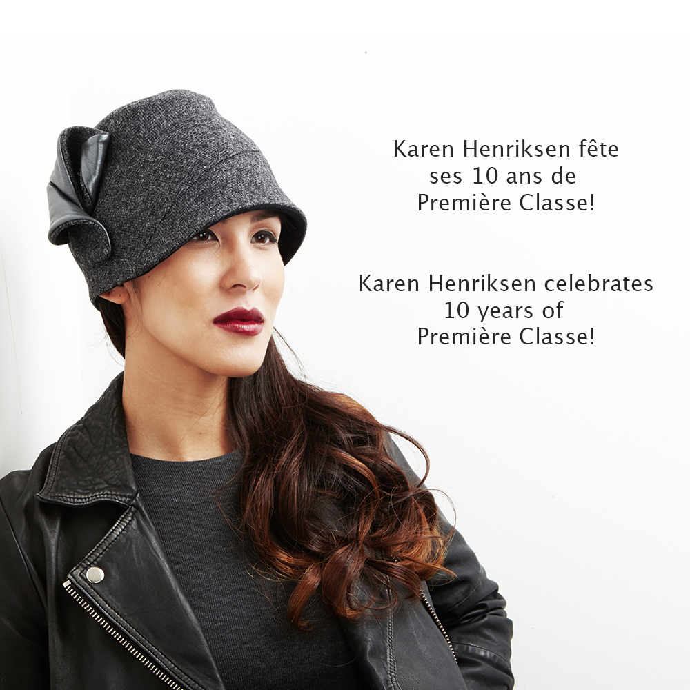 'Andrea',cloche hat in grey wool tweed with grey leather detailing.
