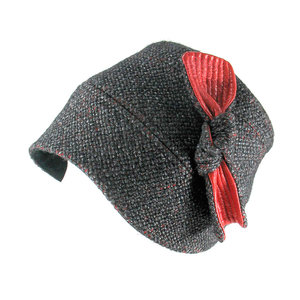 ae5b525dd4c2e6 Wool Tweed Cloche Hat with Leather Bow - 'Anne' in charcoal & red