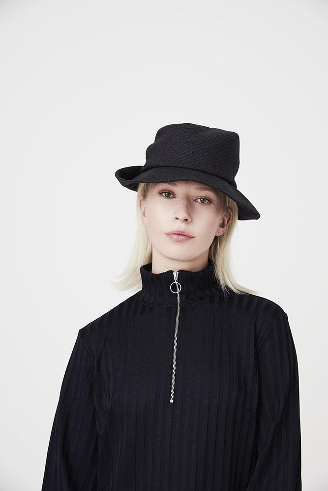 'Bergman' fedora style hat in wool suiting