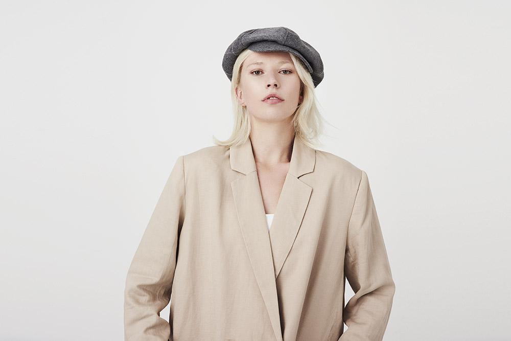 'PB' beret-cap in grey lambswool