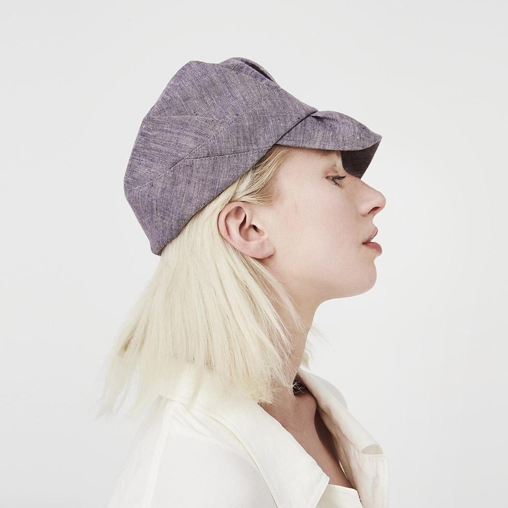 'Inge' peaked cap in violet fade Irish linen