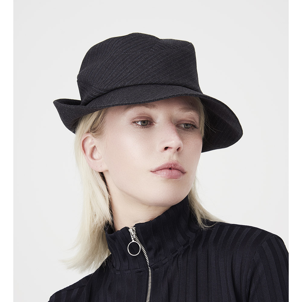 'Bergman' fedora style hat in charcoal wool suiting