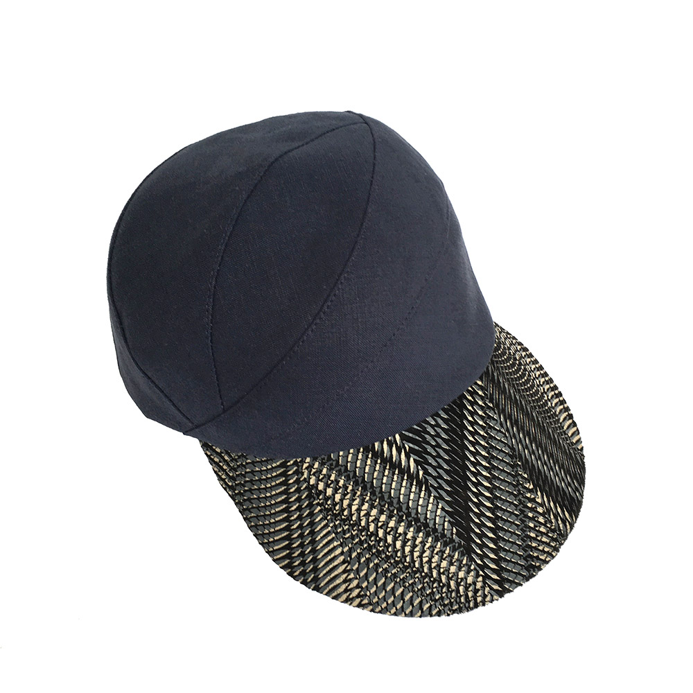 'Petra' Limited Edition Peaked Cap In Navy Linen With Printed Suede Peak