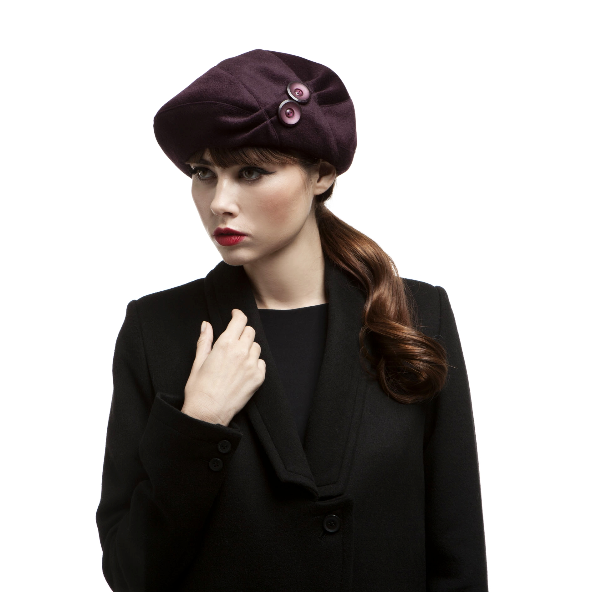 'Bonnie' beret in aubergine wool/cashmere