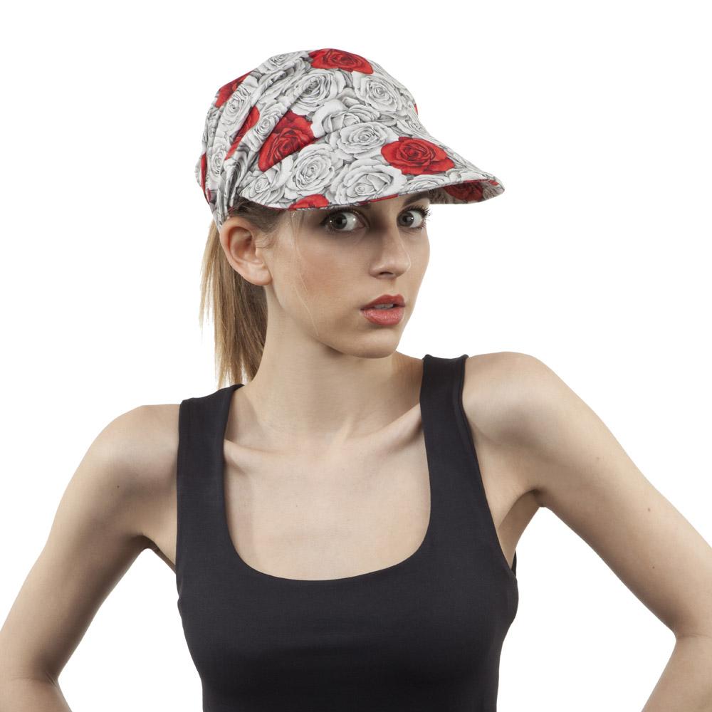 'Wanda' peaked cap in rose print cotton