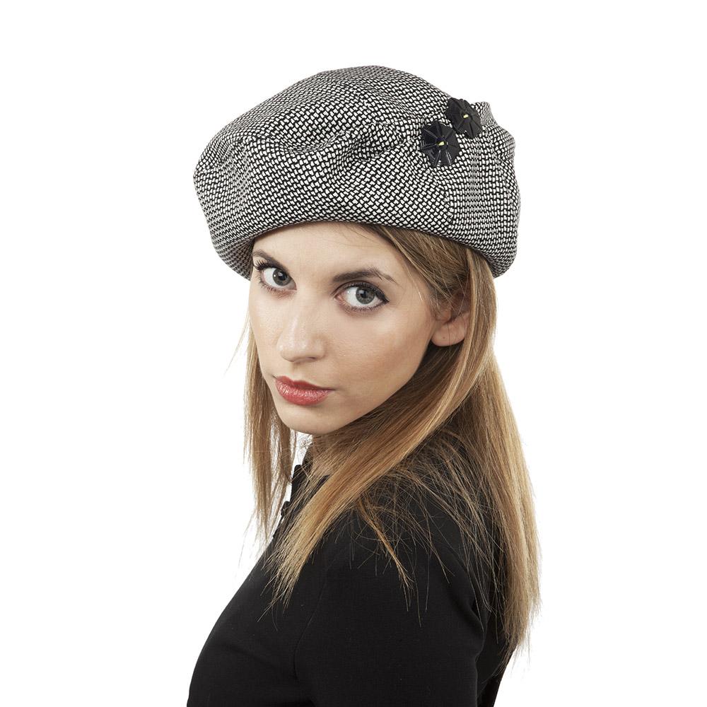 'Bonnie' beret in silk tweed