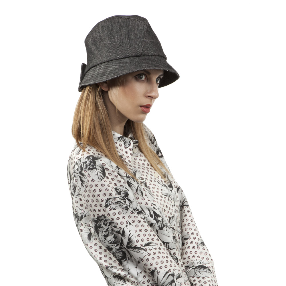 'Sarah' cloche hat in charcoal denim