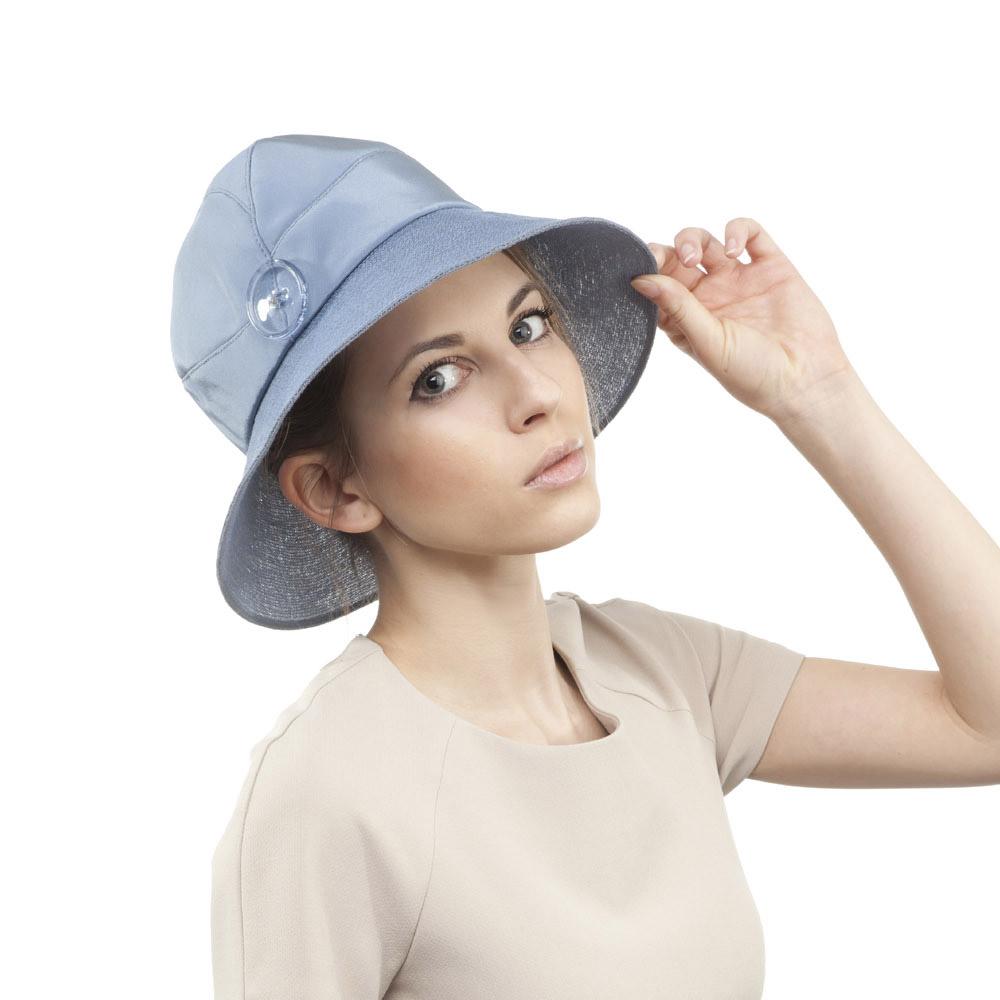 'Mitzi' hat in blue silk with stitched net brim