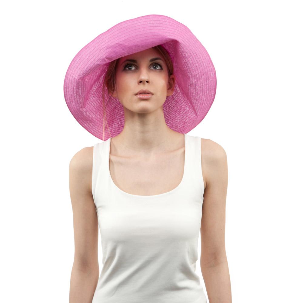 'Alix' sun hat in pink cotton organdie