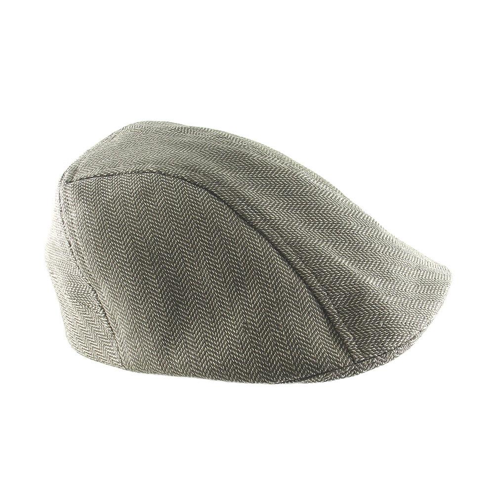 Organic Cotton Designer Flat Cap For Men - 'Clive' In Light Brown Herringbone