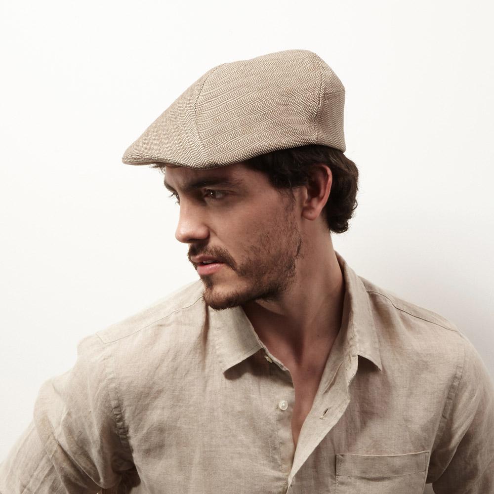 Organic Cotton Flat Cap For Men - 'Clive' In Light Brown Herringbone
