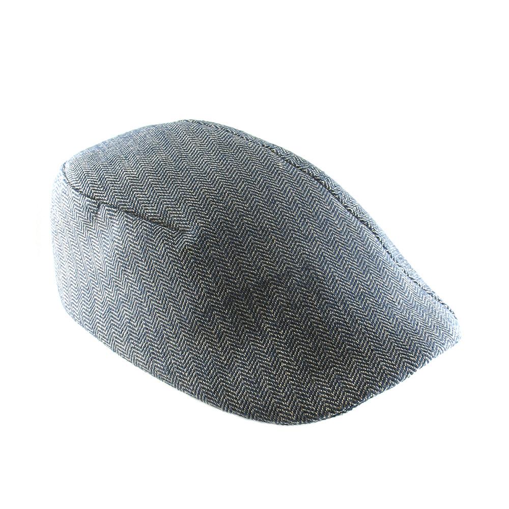 Organic Cotton Flat Cap For Men - 'Garvey' In Blue Or Brick Herringbone