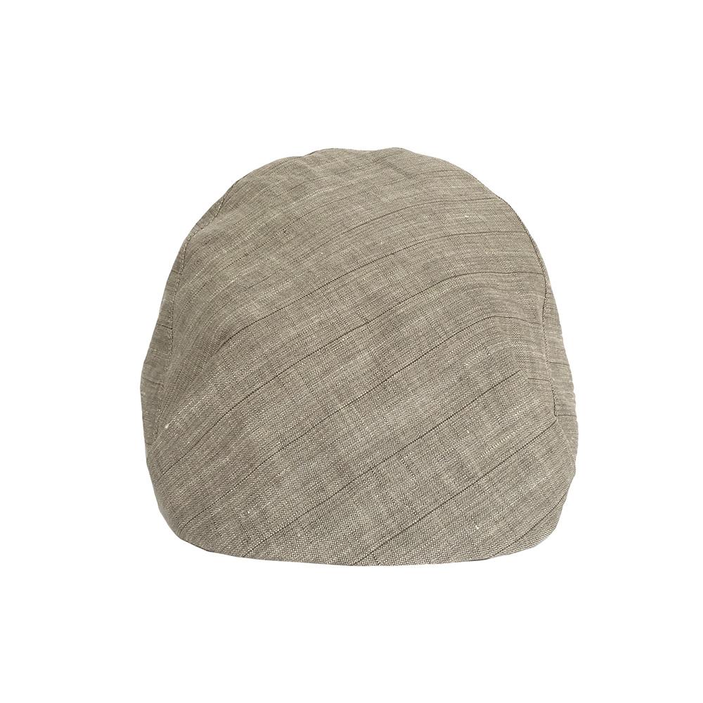 Linen Designer Flat Cap For Men - 'Casey' In Biscuit