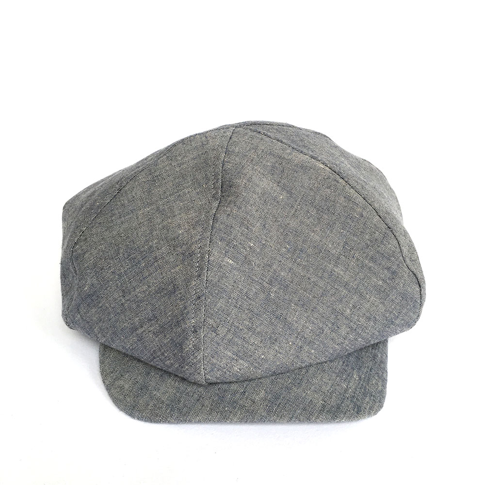 Irish Linen Large Baker Boy Style Cap For Men - 'PB' In Chambray Blue