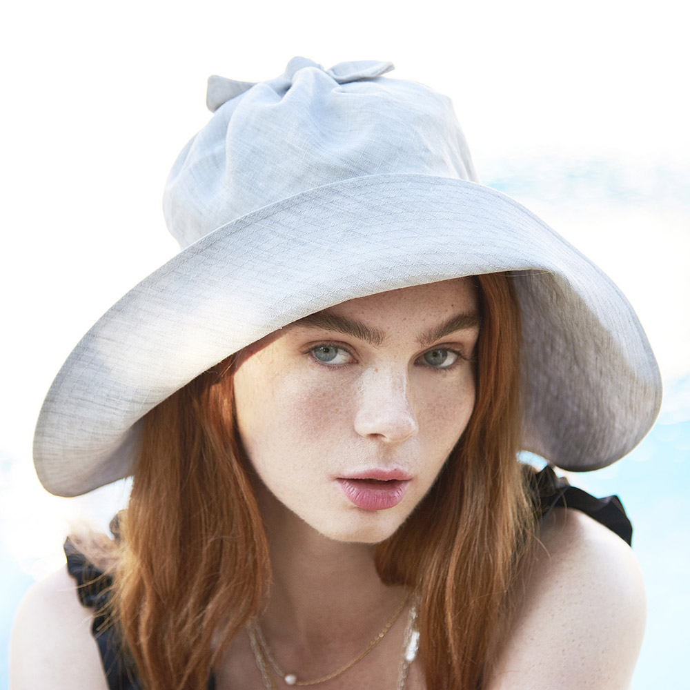 Sun Hat For Women - 'Torquay' In Grey Linen