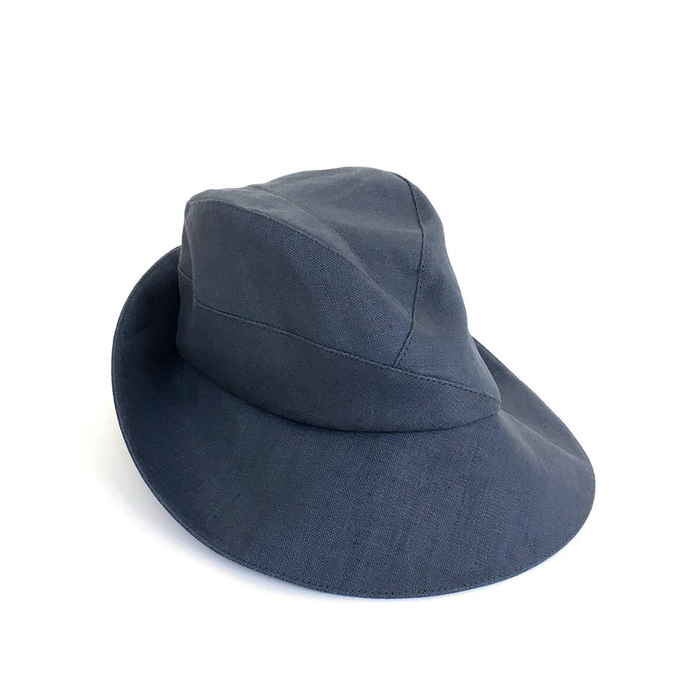 Women's Designer Fedora Hat - 'Crawford' In Blue Linen