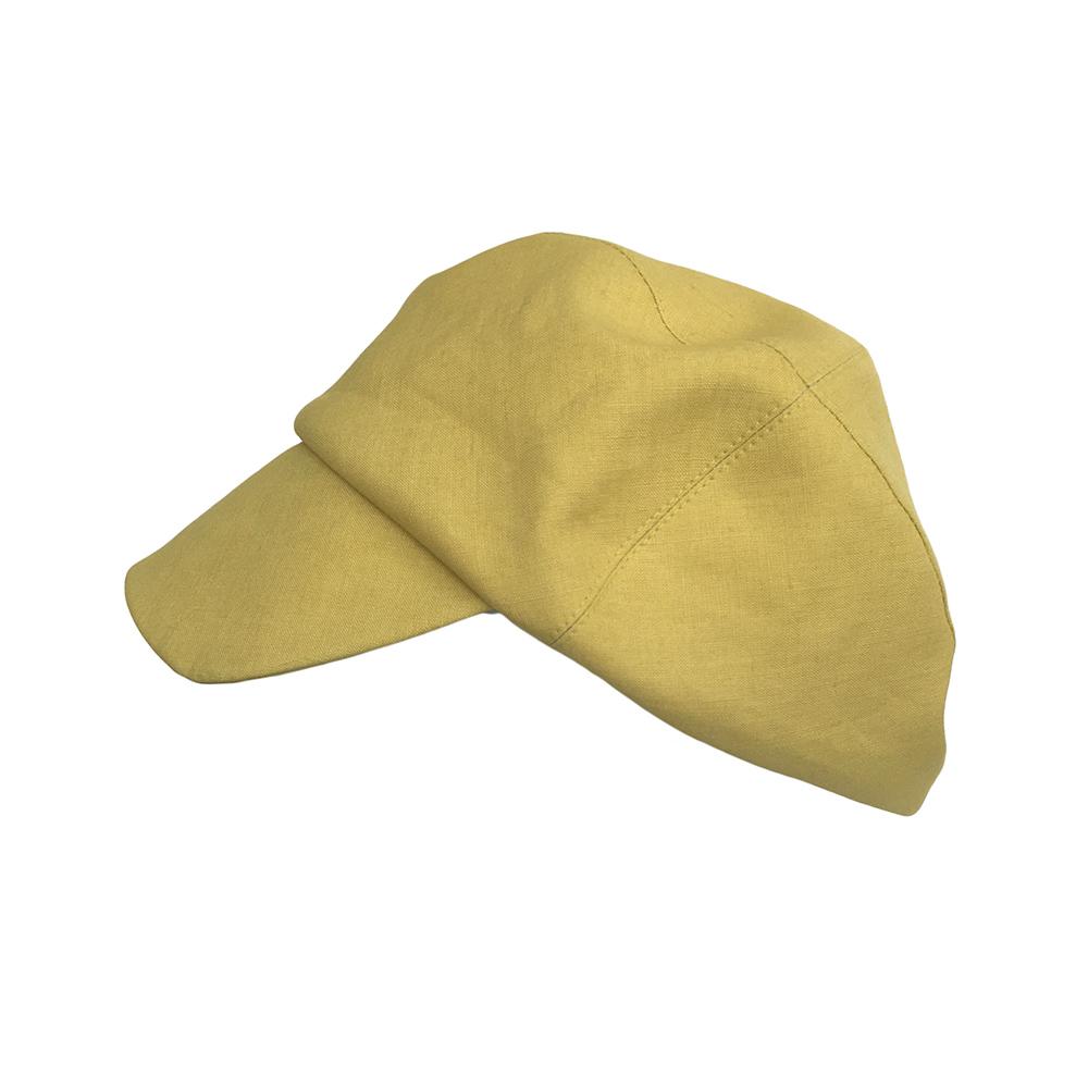 Women's Linen Designer Cap - 'Rye' In Yellow