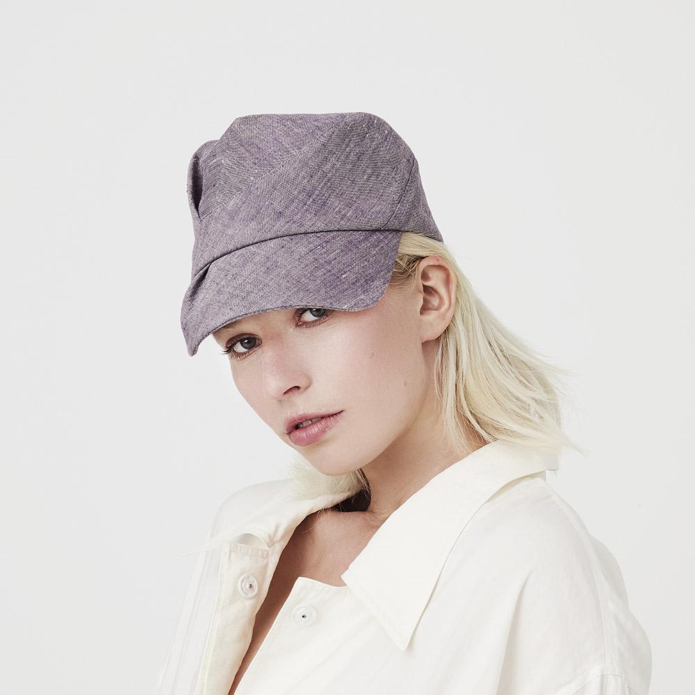 Women's Linen Designer Peaked Cap - 'Inge' In Violet-Fade