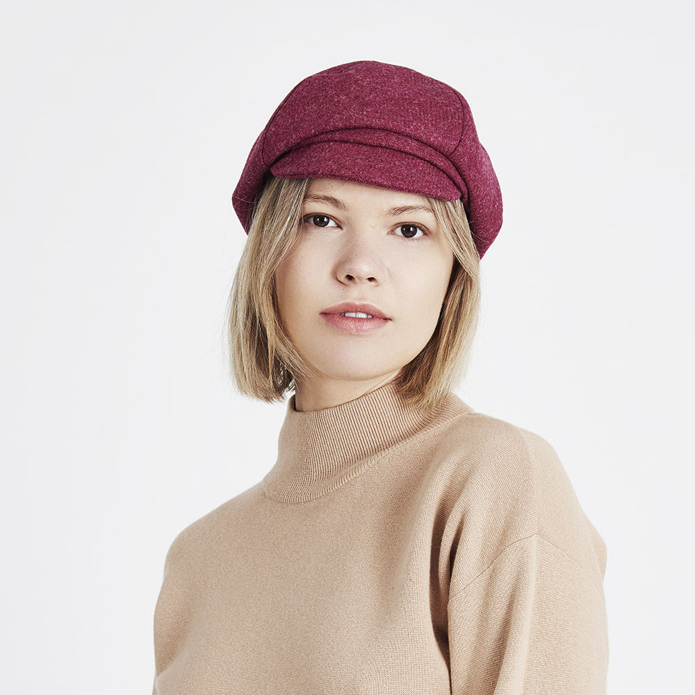 Linda  in raspberry Shetland twill