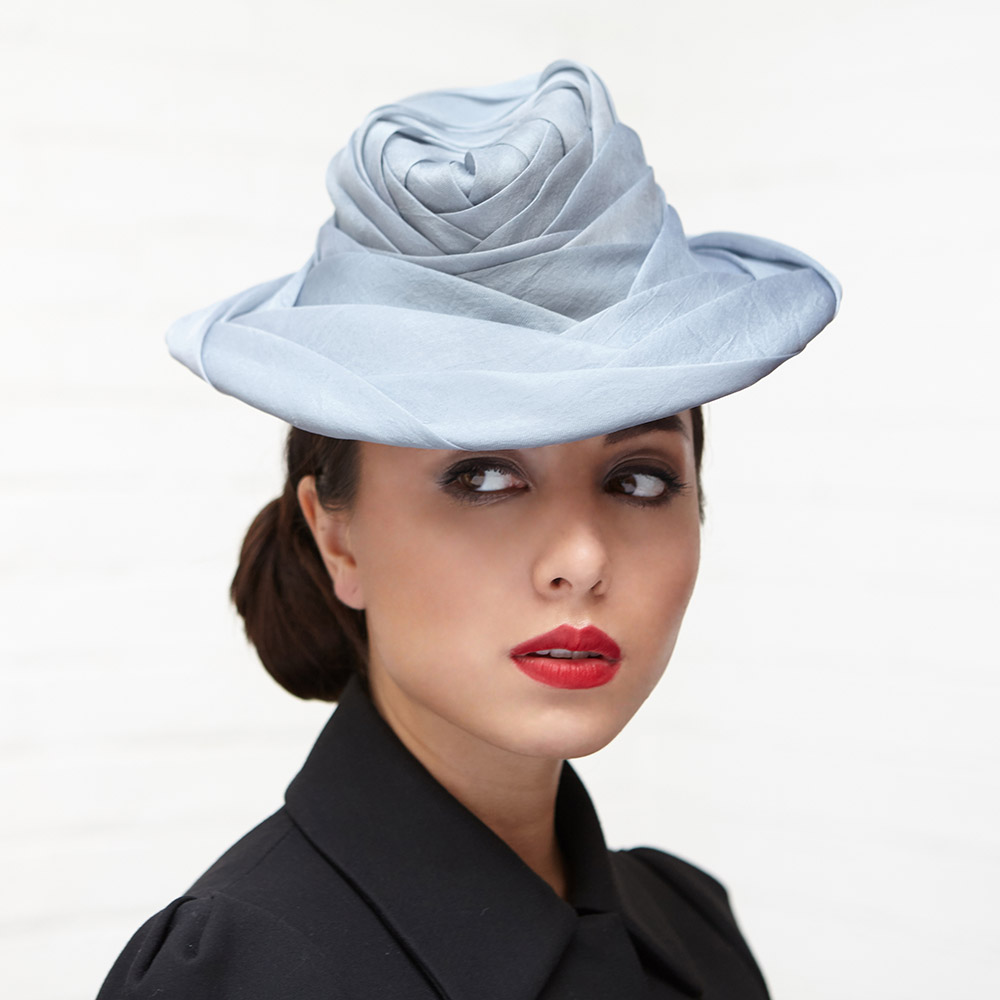 Nancy  perching trilby in blue-grey silk organza