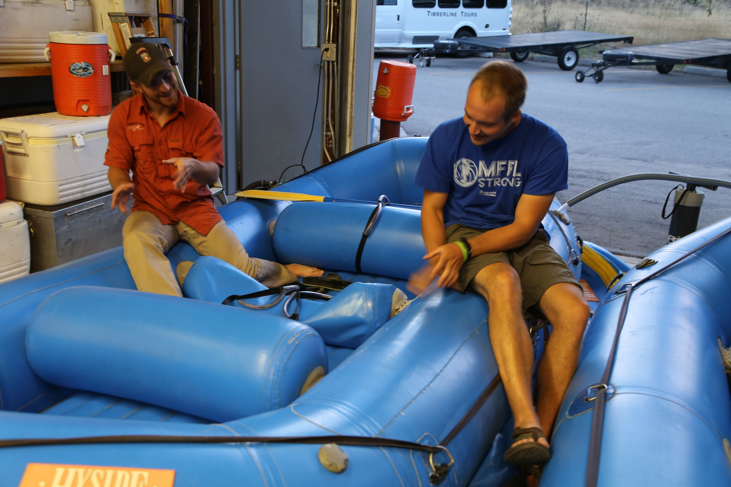 Shawn and Christian getting to know their race boat and talking about their lines.