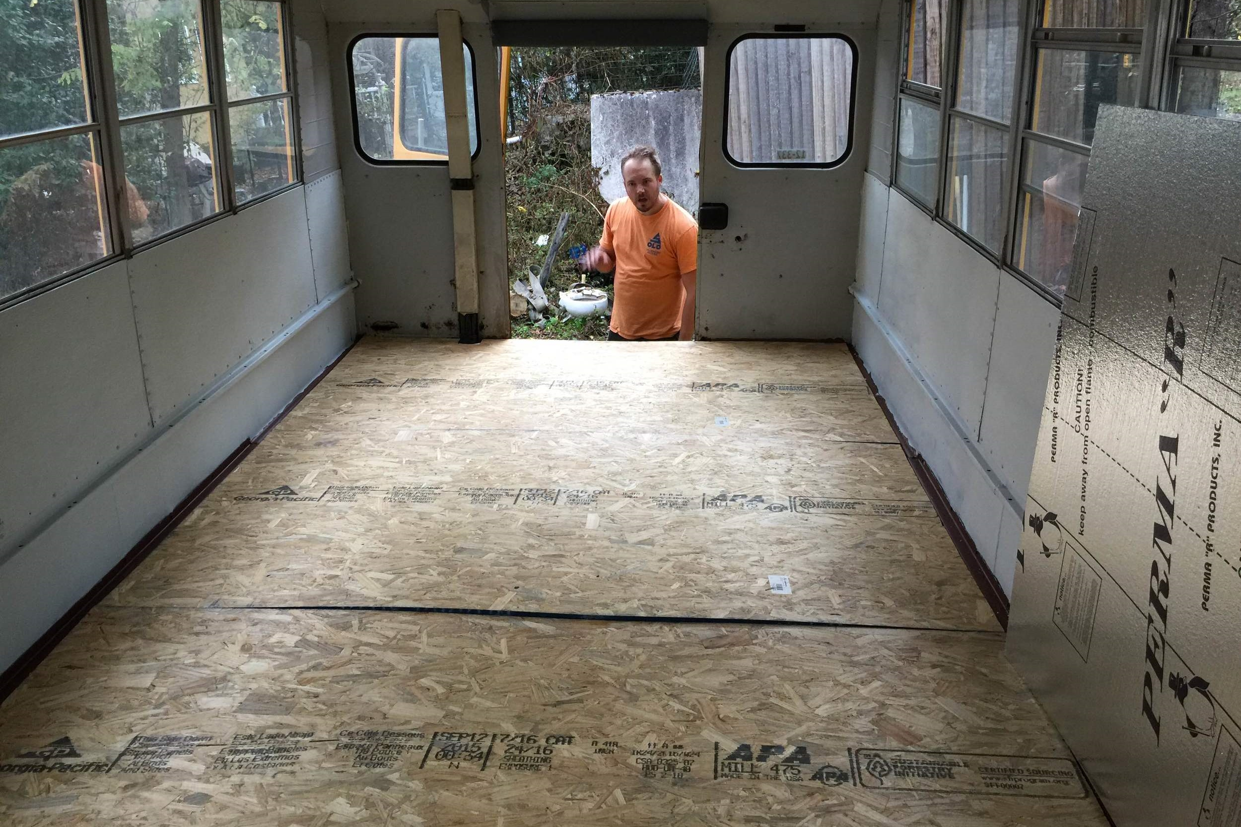 Flooring in and waiting to be attached via self-tapping screws!