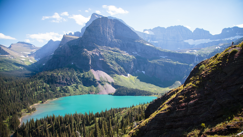 Christian can be seen on the far right side overlooking the Grinnell Lake.