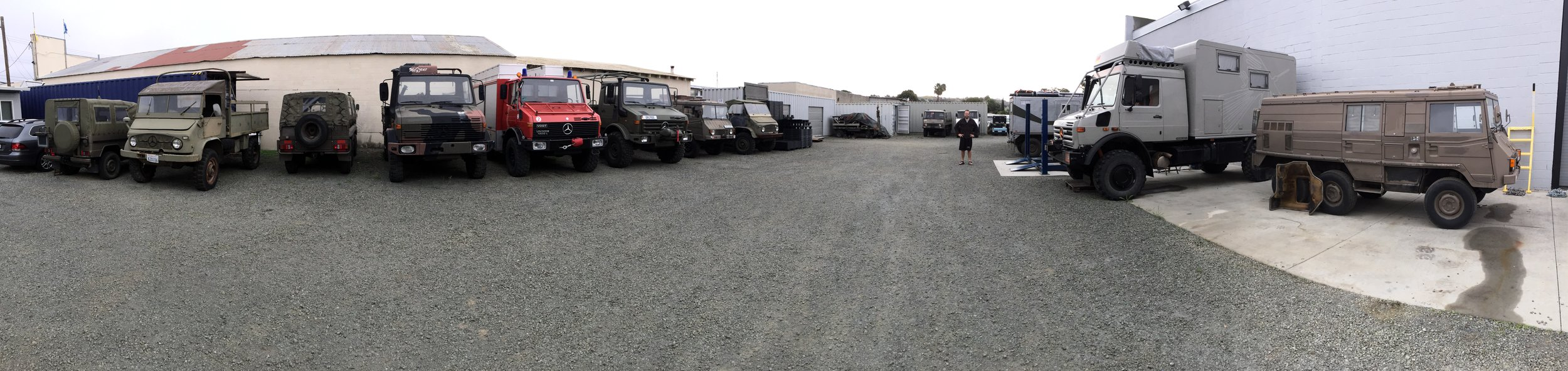 A panorama of all the rigs including Mogs spanning three decades, original Steyr-Puch G Wagons, and a handful of 4x4 and 6x6 Pinzgauers. It was beautiful. We felt normal!