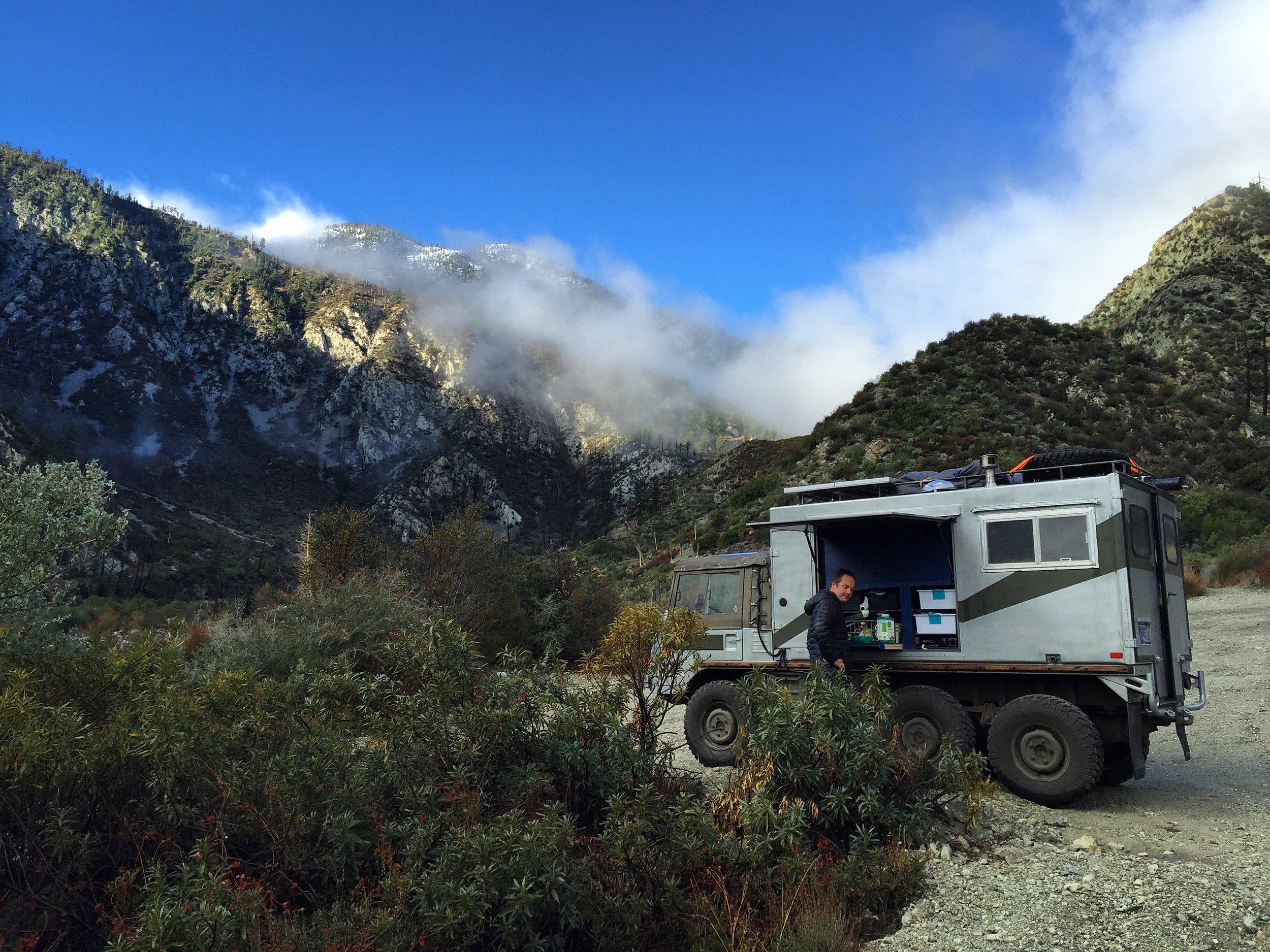 Camping above San Bernadino because the Walmarts wouldn't have us.
