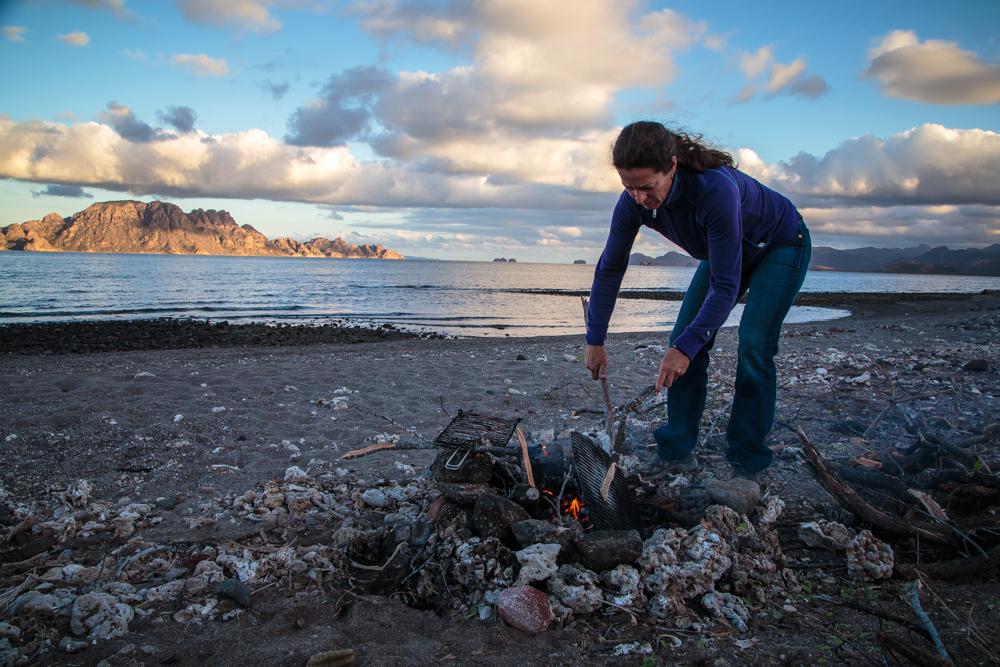 Preparing a respectful fire.
