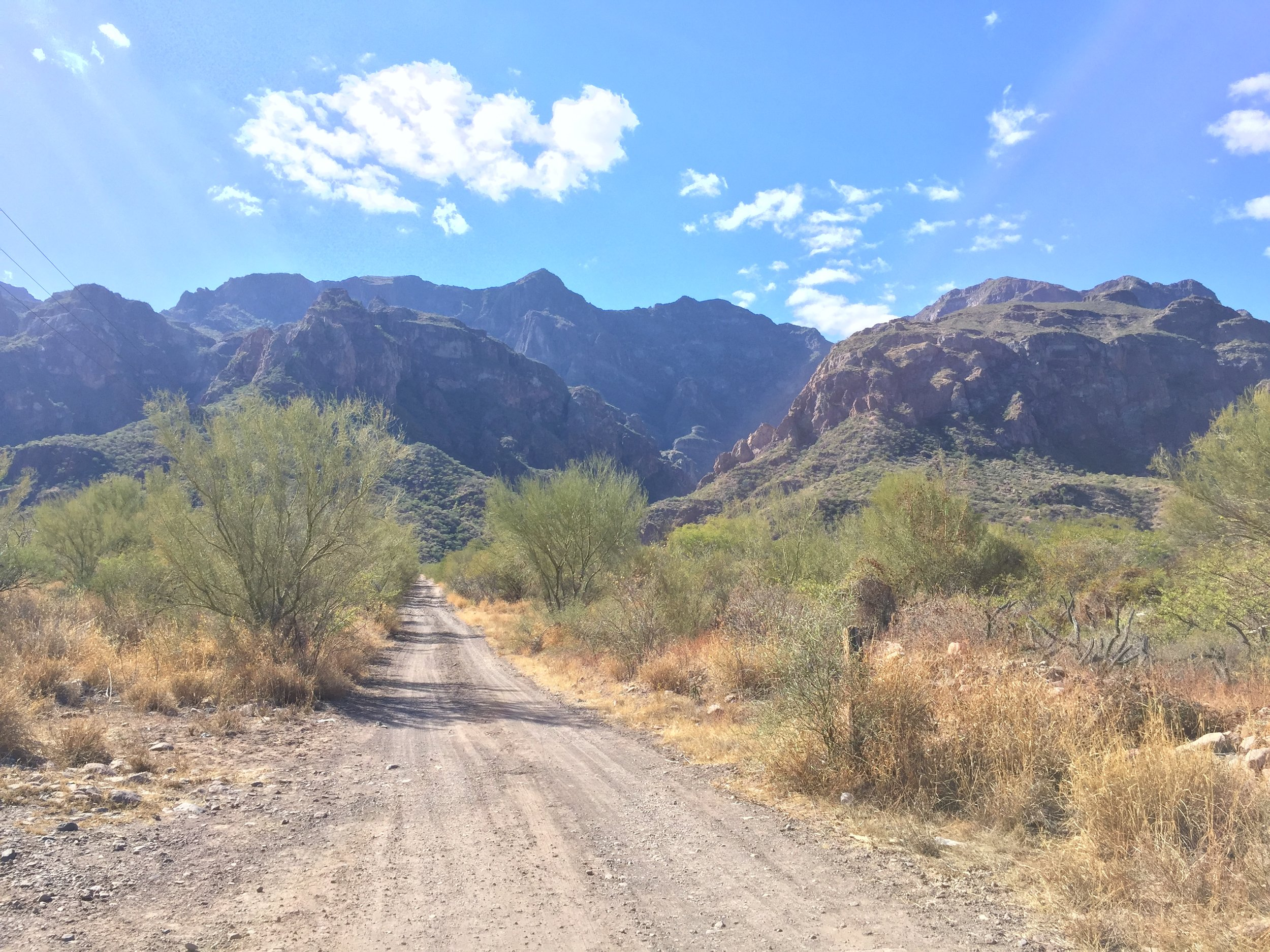 The road to the canyon, across from Rattlesnake beach.