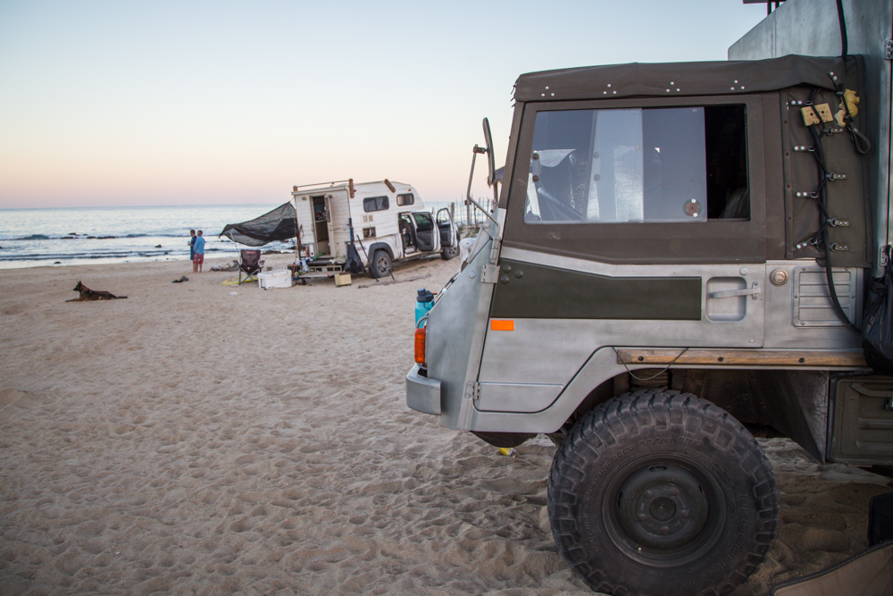 Just two rigs on the beach for the first few days.