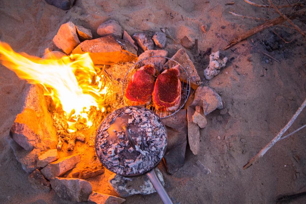 More excellent steaks on an excellent Baja beach.