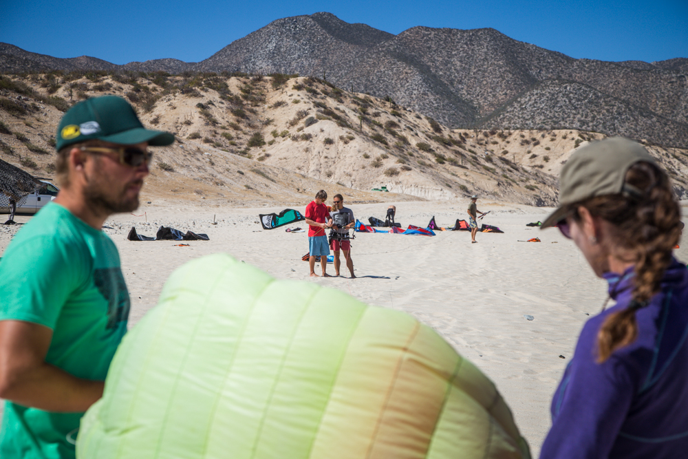 Anna and I preparing to launch the kite for Pablo.