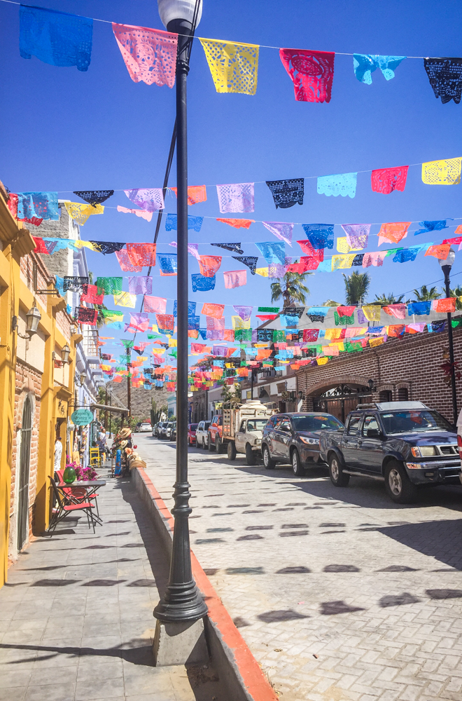 Flags flying over the streets of Todos Santos.