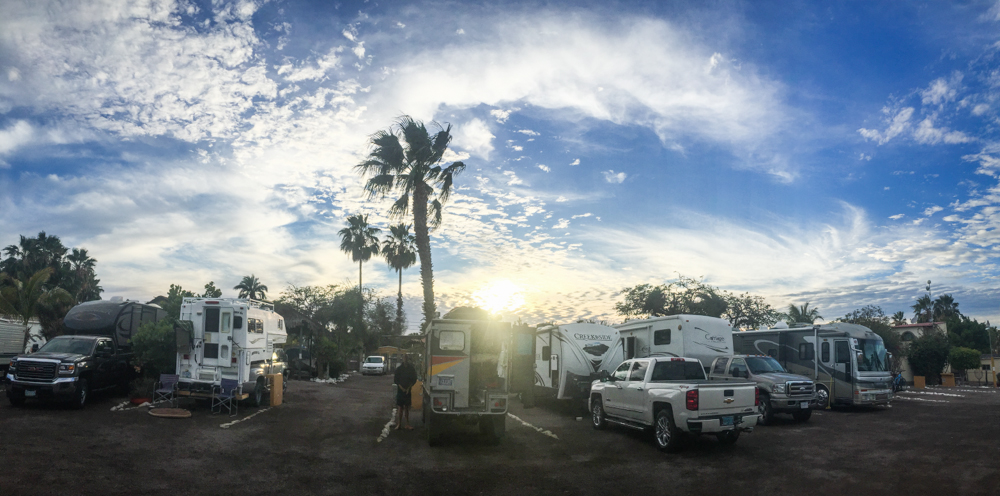 Our front and center spot when we first arrived. We quickly moved to the back of the lot, only to be parked in by a caravan of 19  big  rigs.