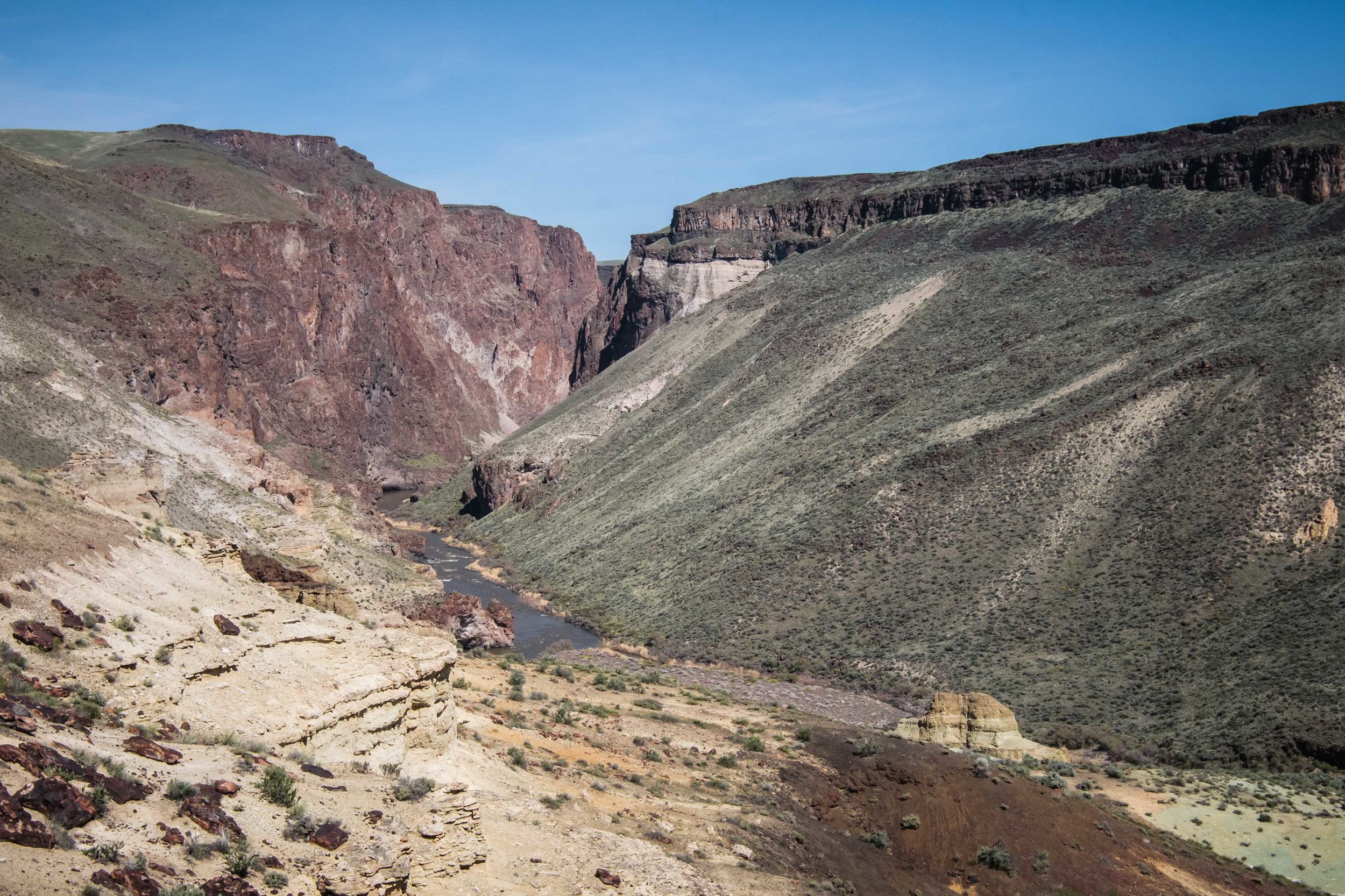 A great view of the canyon down river from our camp that we would paddle through first thing the next morning.