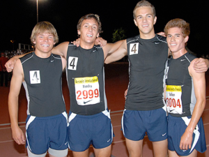 2008 Arcadia DMR Champions: (from left)Chad Rozean, James Hendra, Scott Blair, and Riley Sullivan. Set a CA State record with their time of 10:04.