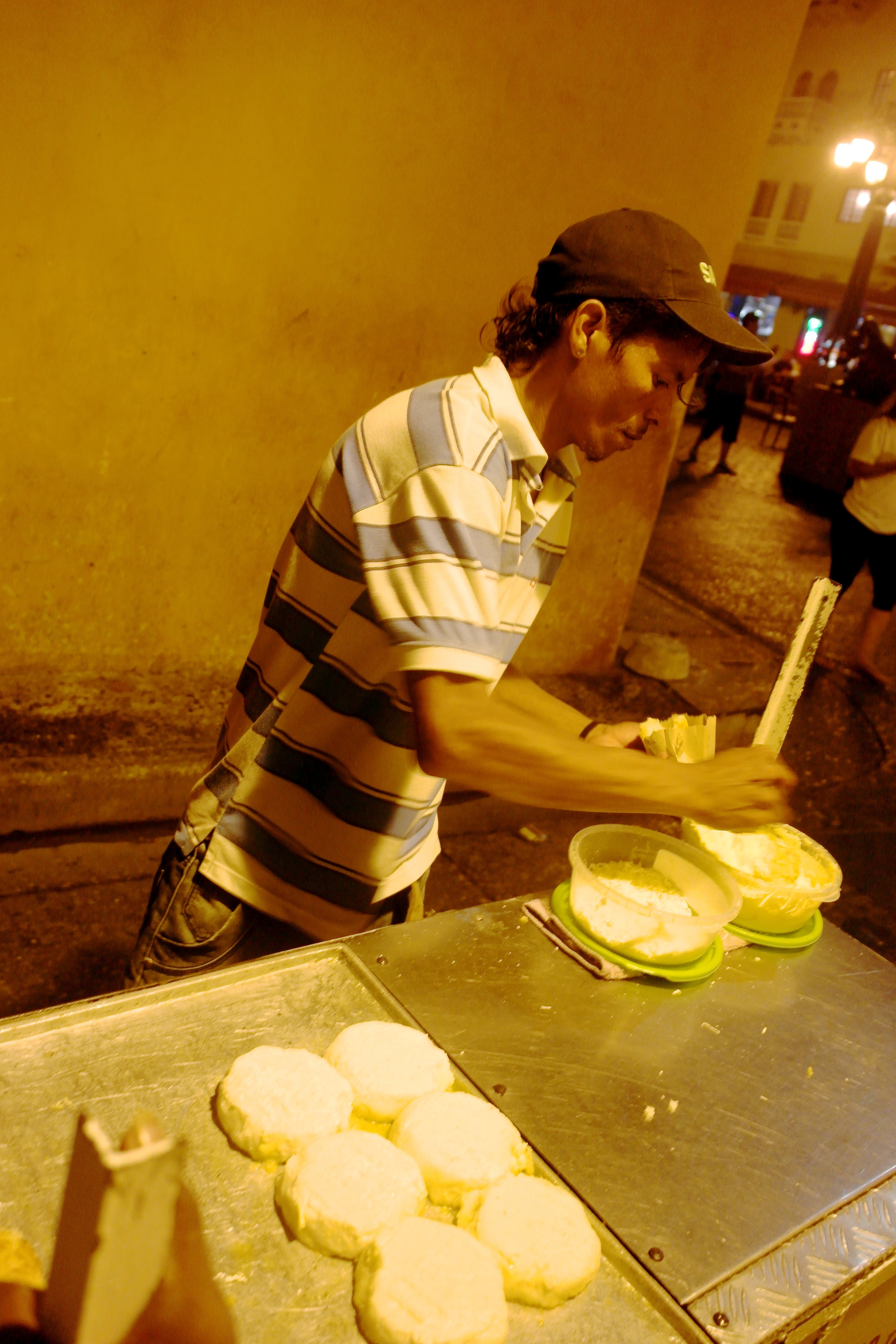 Arepas from a street vendor