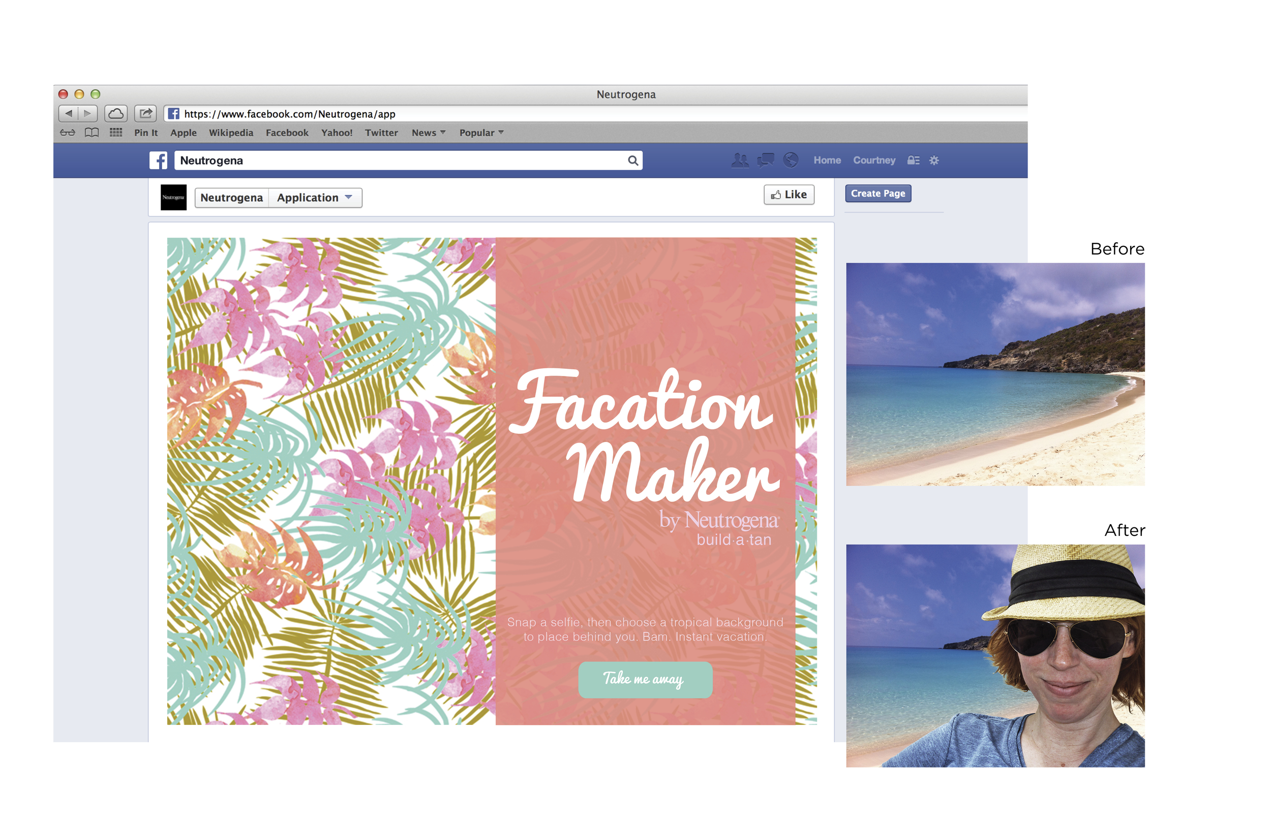 Facebook App that turns your selfies into vacation photos.