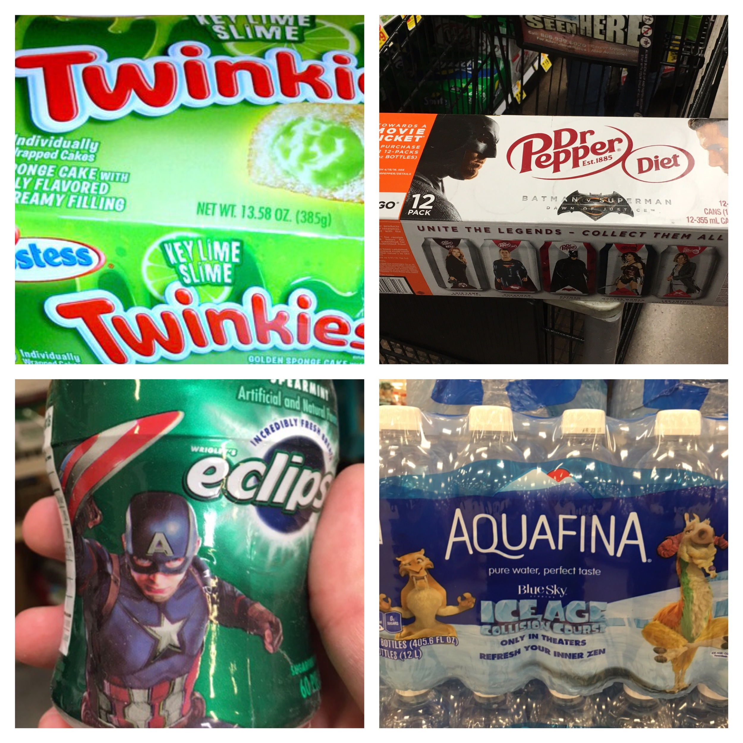 From left to right: Twinkies &  Ghostbusters , Dr. Pepper &  Batman v. Superman , Eclipse Gum &  Captain America: Civil War  and Aquafina &  Ice Age: Collision Course.