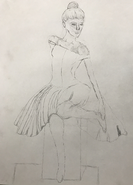 Kristen has created this beautiful and delicate drawing in pencil through acute observation from a still life setup.