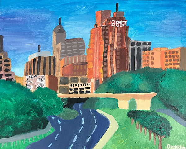 Deeksha has created a beautiful landscape painting using good drawing, bold shapes and expressive color.