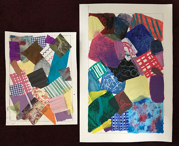 Ojasi has recreated her collage in paint using bold abstracted shapes with textures and patterns.
