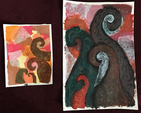 Using her collage as a reference, Prisha has created a bold and expressive painting using her imagination and style.