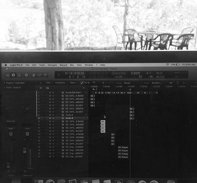 "Mixing next week's episode in the garden, our ""west coast studios"". #podcast #arrvls"